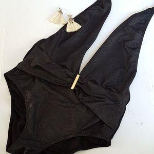 Victoria's Secret deep v black one piece swimsuit